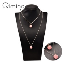Baby Pink Ball Love Heart Long Necklace For Women Kids Children Jewelry lovely Fashion Design Double Chains Bohemia Necklaces(China)