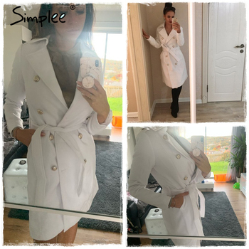 Simplee Vintage double breasted white trench coat for women Sashes slim long trench female Winter office solid trench dress 2