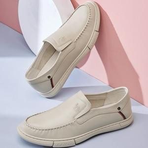 Image 4 - CAEML erkek ayakkabıları erkekler rahat hakiki deri inek derisi setleri erkek resmi ayakkabı yumuşak rahat açık yastıklama ayakkabı yeni