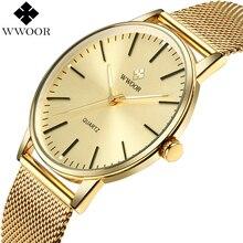 WWOOR גברים פשוט Slim קוורץ שעון זהב פלדת רשת אולטרה דק גברים שעוני יוקרה מותג עמיד למים זכר שעון יד זהב שעון