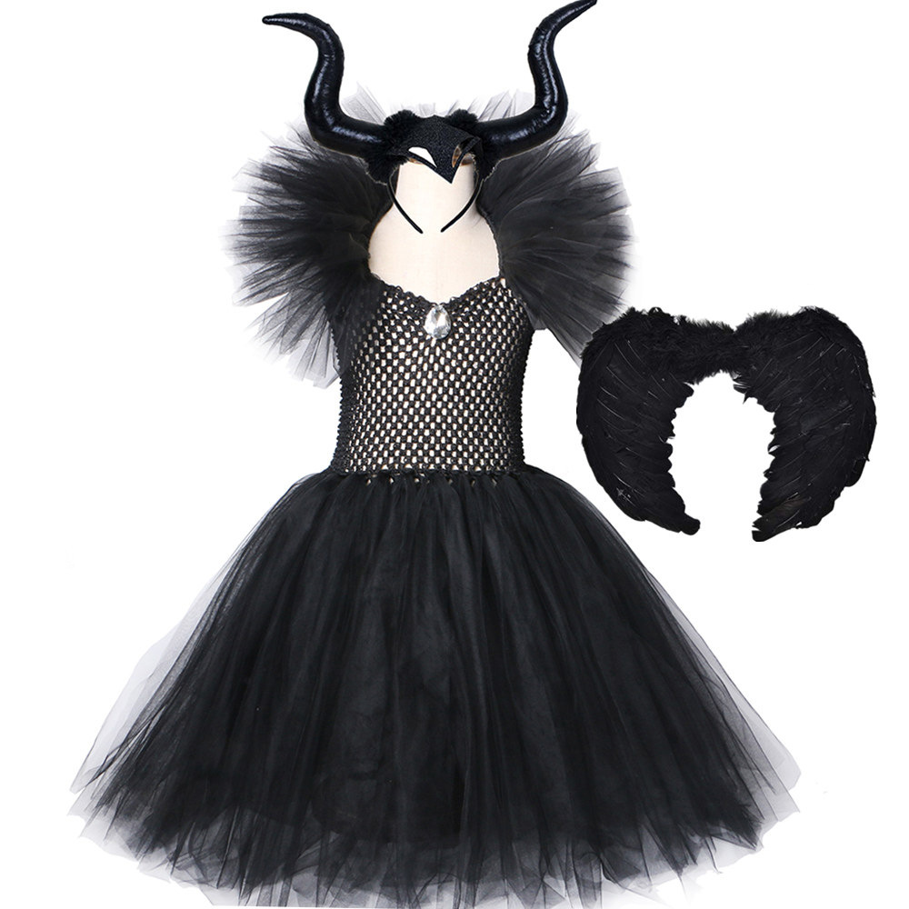 Black Maleficent Tutu Dress With Horns Wing Evil Queen Girls Fancy Party Dresses Gown Kids Halloween Cosplay Witch Costume Dress