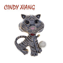 CINDY XIANG Cute Enamel Little Tiger Brooch Funny Animal Pin Kids Jewelry Fashion Vivid Cat Brooches 4 Colors Available Gift(China)