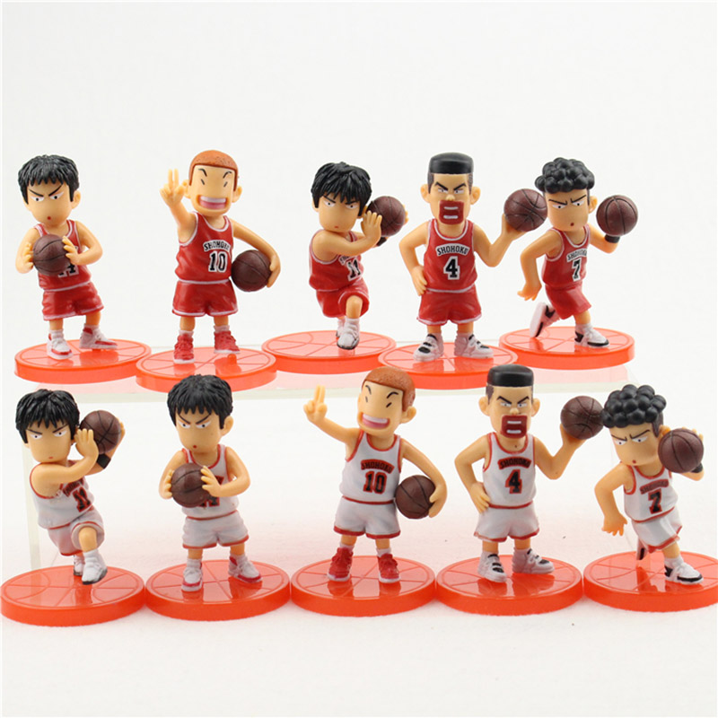 5pcs/set Slam Dunk Shohoku Basketball Player Action Figures Hanamichi Rukawa Kaede Sakuragi PVC Collection Model Kids Toy Gifts image