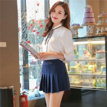цена на Women Girls Short High Waist Pleated Skater Skirt School Skirt Uniform With Inner Shorts Skirt Girl's Uniforms Skirt