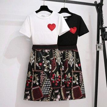Conjunto de 2 piezas de minifalda bordada con flores y mangas cortas de algodón para mujer