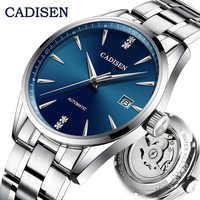 CADISEN-reloj mecánico automático para hombre, de lujo, de acero completo, japonés NH35A, resistente al agua hasta 50M, reloj ultra delgado
