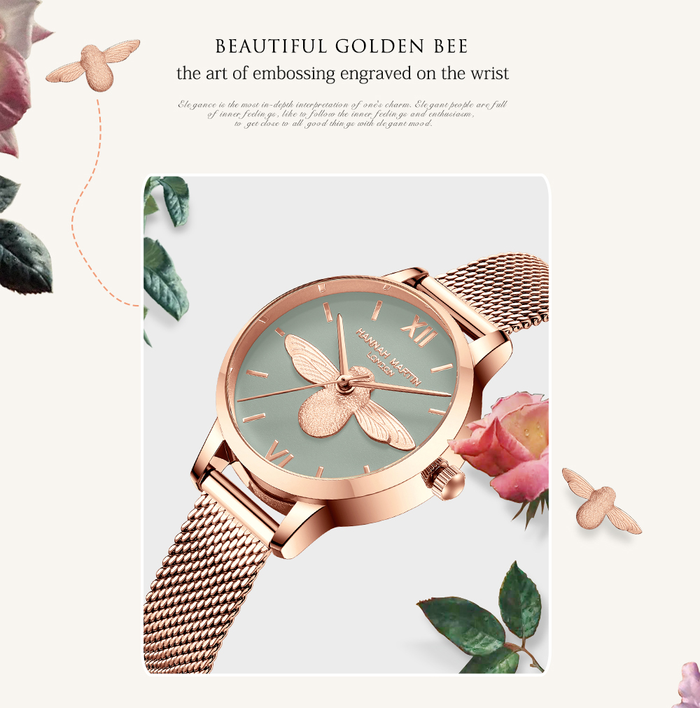 Rose Gold Bee Personality Design Ladies Watch 10