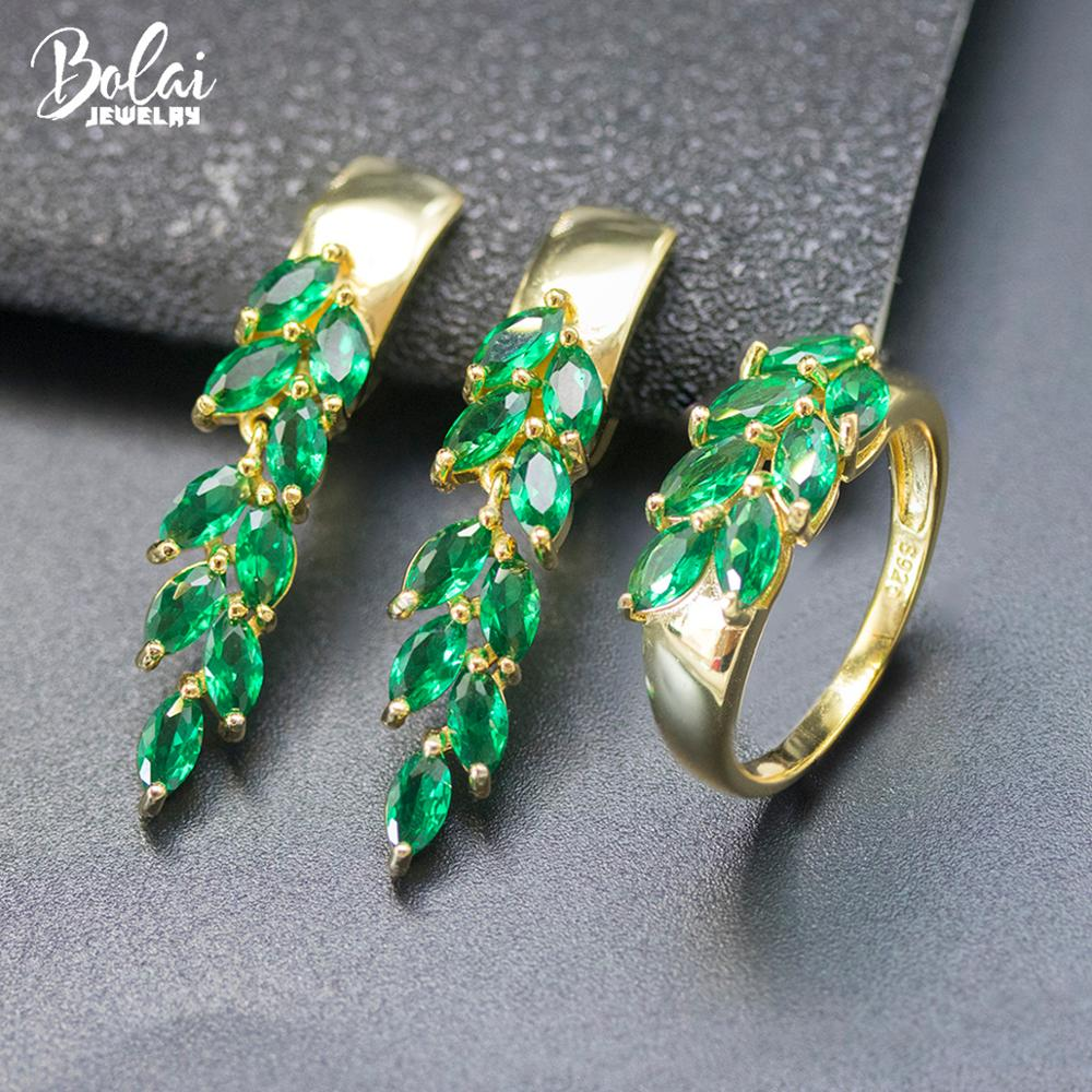 Bolai Russian Nano Emerald Leaf Jewelry Sets 925 Sterling Silver Created Green Gemstone Dangle Earrings Ring for Women's Summer
