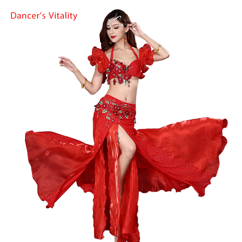 Professional Belly Dance Costumes Embroidery Bra Top+hip Scarf 2pcs Belly Dance Suit For Women Belly Dance Set On The Stage