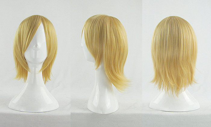 <font><b>VOCALOID</b></font> <font><b>RIN</b></font> <font><b>Cosplay</b></font> Wigs High-temperature Fiber Synthetic Hair 35cm 14inches Golden Short Hair + free wig net image
