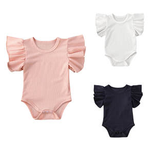 Outfits Bodysuits Short-Sleeve Baby-Girls Infant Summer Newborn Cotton Casual Solid Fly
