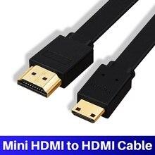 Lungfish شقة صغيرة HDMI (نوع C) إلى HDMI (نوع A) كابل مطلية بالذهب عالية السرعة كابل HDMI صغير 1.4 حقيقي ثلاثية الأبعاد 1080P وإيثرنت A C
