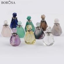 BOROSA 3/5PCS Elegant Perfume Bottle Shape Faceted Gem Stone Connectors Pink Quartz Double Charms Jewelry for Necklace WX1018
