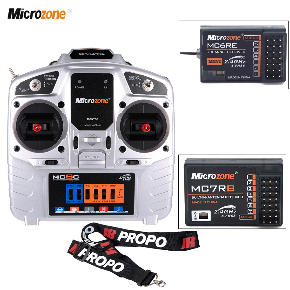 MicroZone MC6C Remote Control With Mini MC6RE/MC7RB 2.4G Receiver For SU27 Fixed Wing Aircraft RC Drone