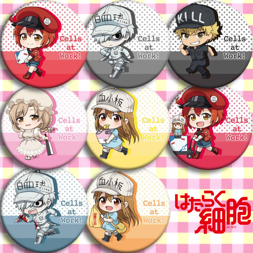 Japan Anime Cells At Work Platelet Cosplay Badge Cartoon Collection Bags Badges For Backpacks Button Clothes Brooch Pins Gifts