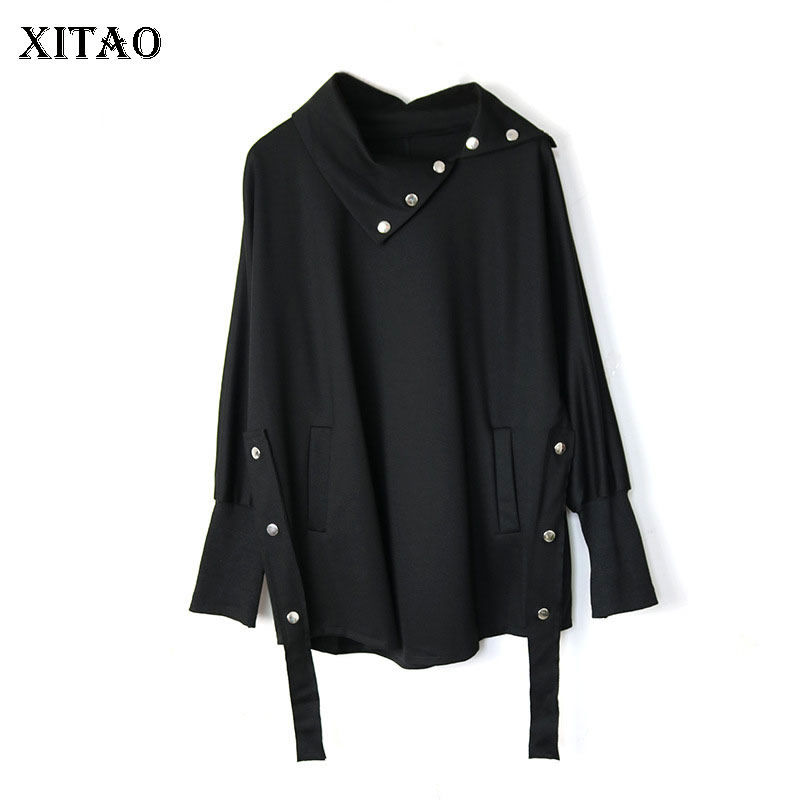 XITAO Drawstring Sweatshirt Fashion Women Black 2020 Autumn Pleated Full Sleeve Minority Casual Style Loose Sweatshirt DZL1689 1