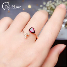 CoLife Jewelry 925 Silver Garnet Ring Fashion Garnet Silver Resizable Ring 5mm*7mm Pear Cut Garnet Jewelry for Daily Wear