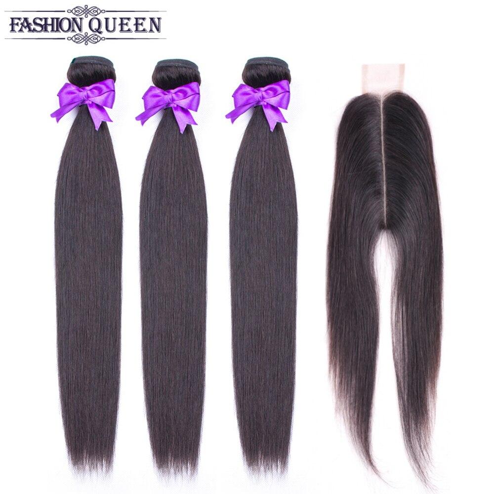 Fashion Queen 3 Bundles Brazilian Straight Hair Weave Bunldes Human Hair Weave Bundles With Middle Part Closure Non Remy