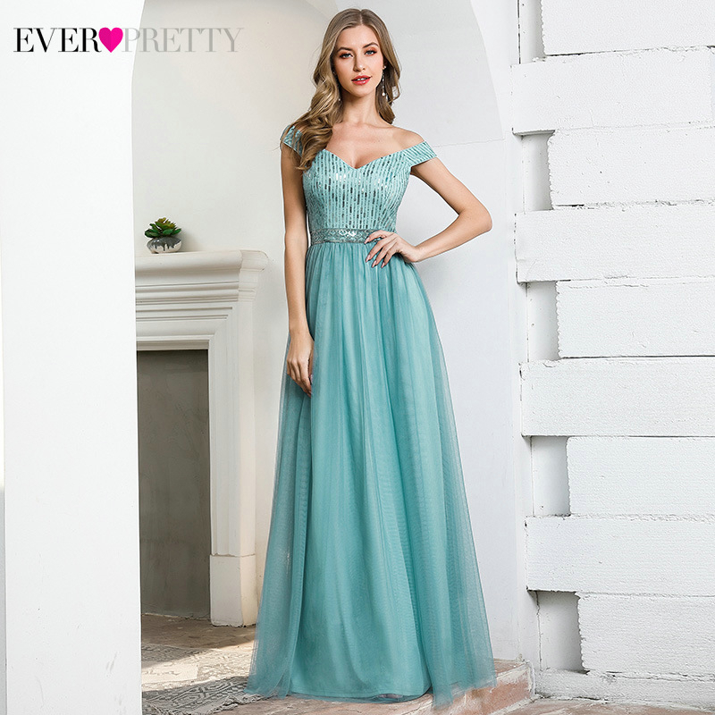 Sparkle Blue Prom Dresses Ever Pretty EP00758DB Sequined A-Line V-Neck Tulle Elegant Long Party Gowns Abiye Gece Elbisesi 2020
