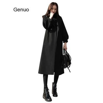 New Autumn Women Woolen Coat 4XL Red Long-sleeved Lapel Belt Thicken Jacket Winter Loose Long