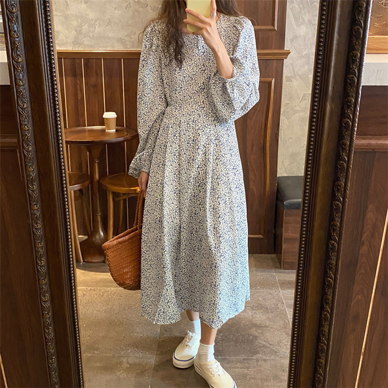 H4d1dbbb8644948e2975a1638407534f6c - Autumn O-Neck Lantern Long Sleeves Floral Print Midi Dress