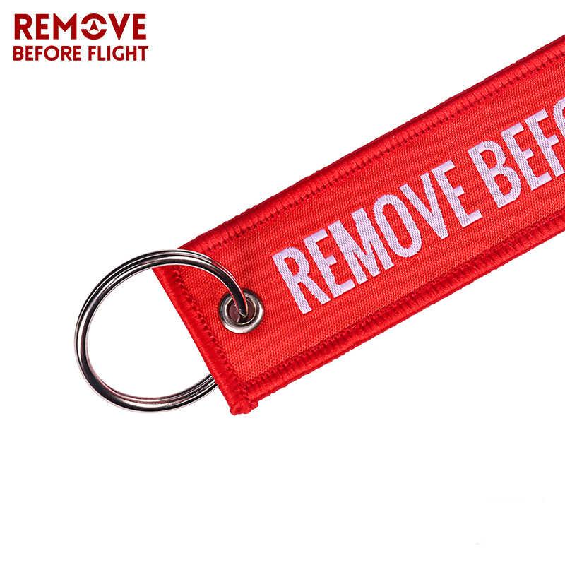Entfernen Vor Flug Woven Schlüssel Kette Spezielle Gepäck Label Red Kette Schlüsselanhänger für Luftfahrt Geschenke OEM Keychain Schmuck