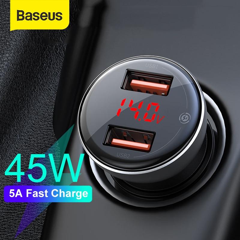 Автомобильное зарядное устройство Baseus, 45 Вт, с двумя usb портами, для iPhone 11, samsung S9, мобильный телефон, зарядное устройство для Xiaomi, автомобильное зарядное устройство, светодиодный дисплей|Зарядные устройства|   | АлиЭкспресс