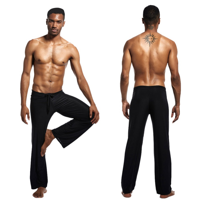 Men's Yoga Tai Chi Pants Pajama Solid Color Sleep Bottoms Drawstring Home Loose Casual Plus Size Trousers