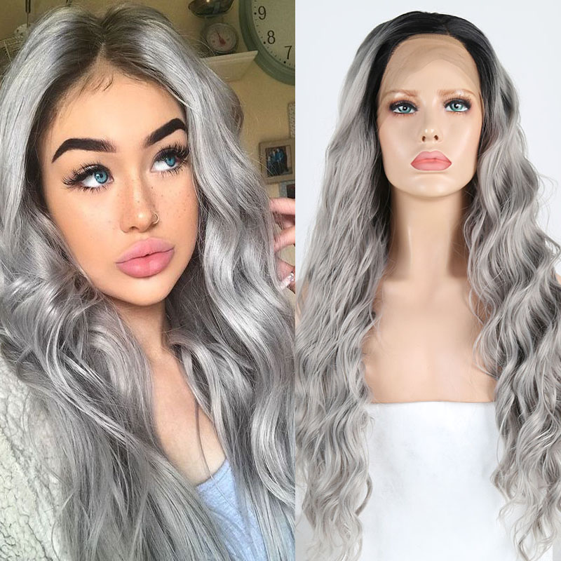 RONGDUOYI High Temperature Fiber Grey Wig Side Part Lace Front Synthetic Wigs For Women Long Ombre Gray Wavy Cosplay Lace Wig