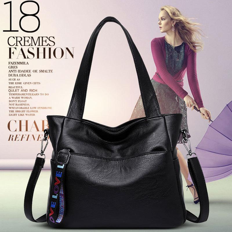 New women's bag fashion large volume handbag soft leather one-shoulder cross-body bag