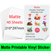10/20/30/40 Sheets A4 Matte Printable Vinyl Sticker Paper PVC waterproof Stickers for Inkjet printer DIY Crafts Gifts Copy Paper
