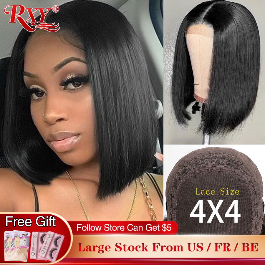 Peluca con cierre RXY, Bob corto recta, pelucas delanteras de encaje, 4X4 parte profunda, peluca brasileña Remy Bob, pelucas de cabello humano frontal de encaje para mujeres