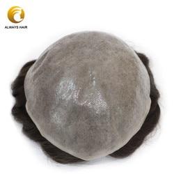 Semi Qualität Natrural Haaransatz Dünne Haut Perücke 6 zoll Haar Ersatz Freies Stil Indische Menschliches Haar Männer Toupet PU Männer haar Einheit