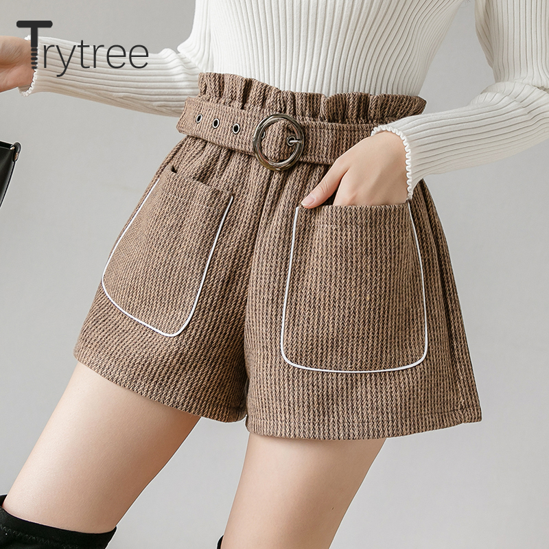 Trytree 2019 Autumn Winter Woman Casual Shorts Loose Belt Pockets High Waist Solid 3 Colors Fashion All-Purpose Style Short