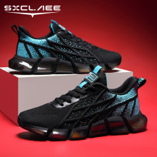 Sxclaee Non-Leather Men Casual Shoes Breathable Sweat-absorbent Flying Knit Upper Sneakers Non-slip Wear-resistant Sports Shoes