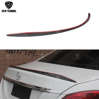 For Mercedes W205 Carbon Spoiler 4-Door Sedan C63 style C180 C200 C250 C260 Carbon Fiber Rear Trunk Spoiler With Red Line 2014+
