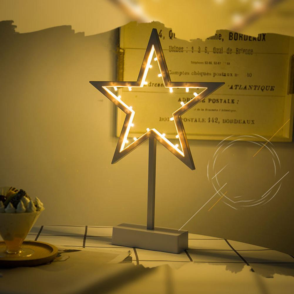 20LED Star Shaped Night Lamp Creative White Frame Warm White Lighting Battery Powered Birthday Present Decorative Light