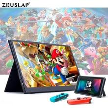 ZEUSLAP nowy 15.6 calowy 1920*1080P FHD ultracienki ekran IPS USB C HDMI przełącznik Nintendo przenośny Monitor gamingowy