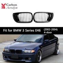 1 Pair ABS  Front kidney Grille For BMW 3 Series E46 2002-2004 4-Doors Sedan Single-Slat Glossy Black/Matte Black Car Grill