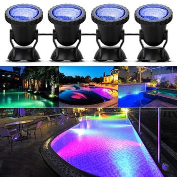Luci stagno 4 pz subacquee RGB dimmerabile per acquario luce paesaggio piscina fontana 1