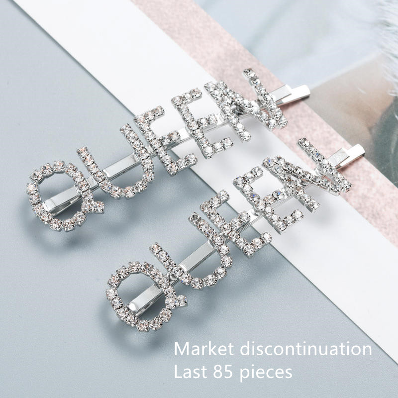 2Pair Temperament Queen Letter Hairpins Crystal Rhinestone Hair Clips Silver Metal Barrette Women Girls Hair Accessories New