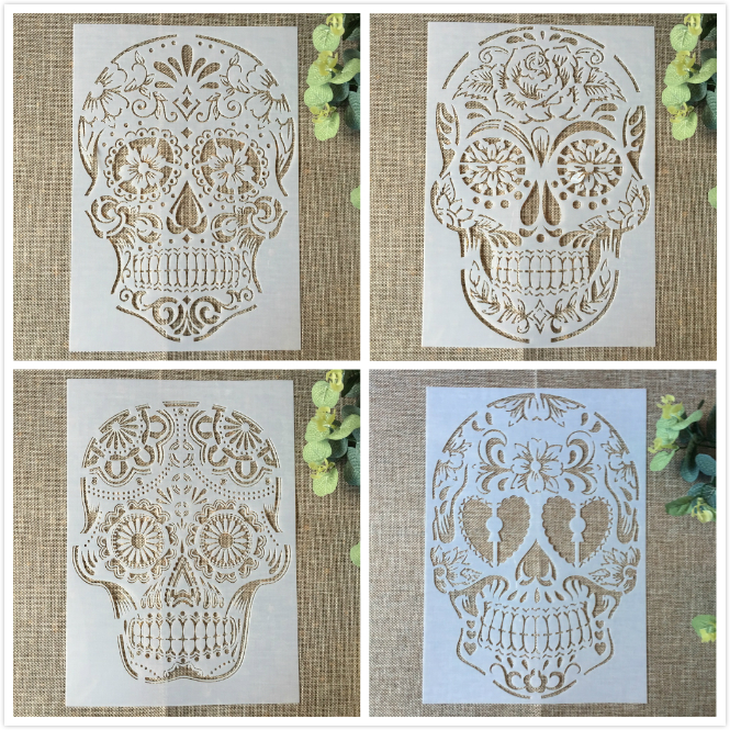 4Pcs 29cm A4 Skull Skeleton Ghost DIY Layering Stencils Painting Scrapbook Coloring Embossing Album Decorative Card Template