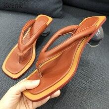 Kcenid 2020 yaz yeni kadın terlik flip flop kristal şeffaf top düşük topuk moda slaytlar garip topuk bayan ayakkabıları