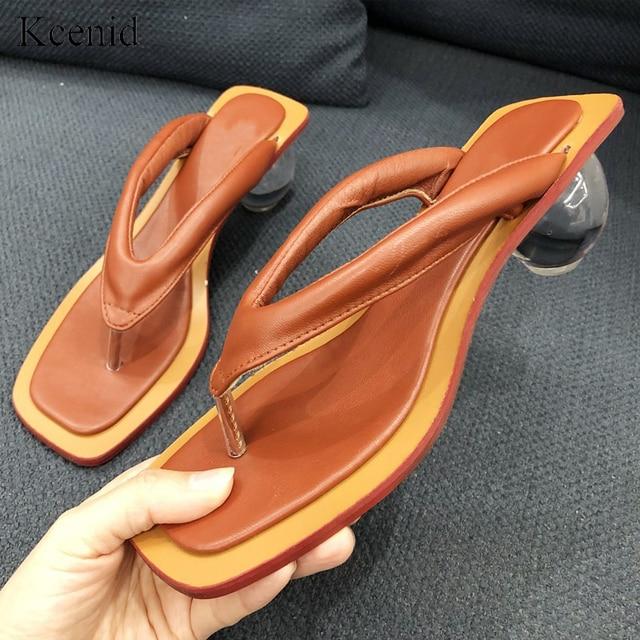 Kcenid 2020 夏新女性スリッパフリップは、結晶の透明ボール低ヒールファッションスライド奇妙なヒールの女性の靴