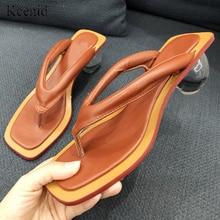 Женские шлепанцы на низком каблуке Kcenid, прозрачные шлепанцы со стразами, модная обувь на необычном каблуке, лето 2020