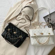 Kobiety elegancki wzór w kratę torby na ramię Crossbody moda PU skóra panie Solid Color Casual duża pojemność torebka na ramię tanie i dobre opinie CN (pochodzenie) WOMEN Plaid Torby na zakupy klamerka Crossbody Bags