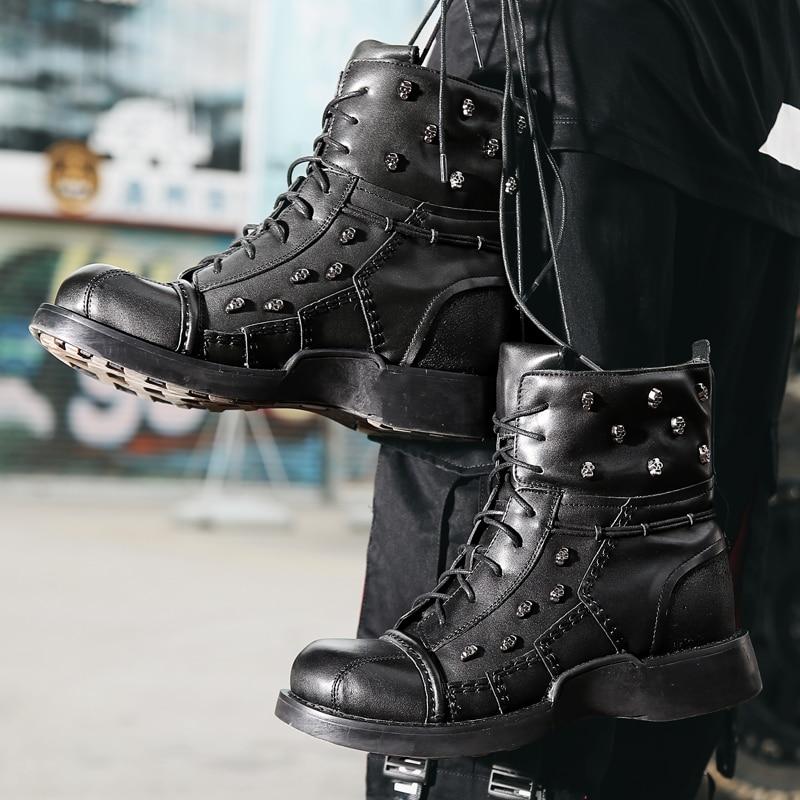 Водонепроницаемые ботинки в байкерском стиле; Мужские ботинки в байкерском стиле с черепом; армейские ботинки; Кожаные Ботинки martin в стиле ...