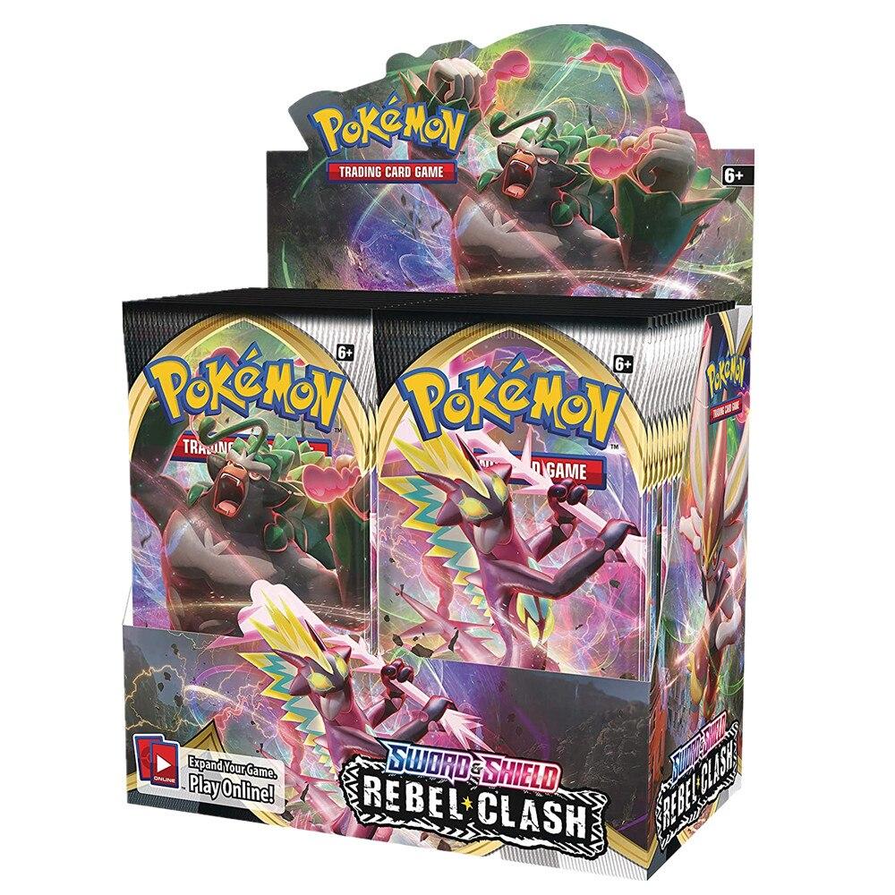324 개/상자 Pokemon TCG 소드 & 쉴드 반란군 충돌 36 봉지 봉인 된 부스터 박스 컬렉션 트레이딩 카드 게임 완구