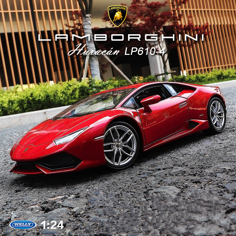 Welly 1:24 Lamborghini LP610-4  Car Alloy Car Model Simulation Car Decoration Collection Gift Toy Die Casting Model Boy Toy