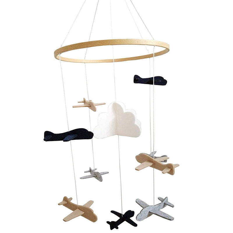 Crib Mobile Airplanes & Cloud Nursery Decoration Grey and White, Navy Blue, Tan Baby Crib Mobile for Boys image